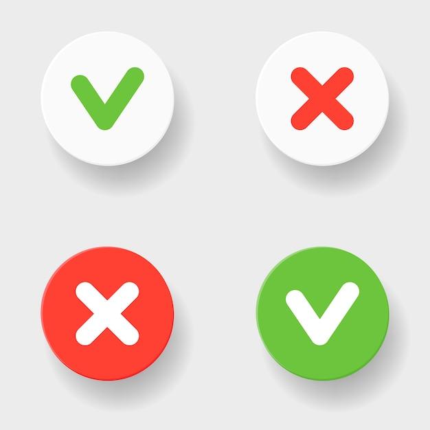 Groen vinkje en rood kruis in twee varianten Premium Vector