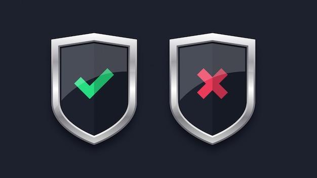 Groen vinkje en rood kruis op badges Premium Vector