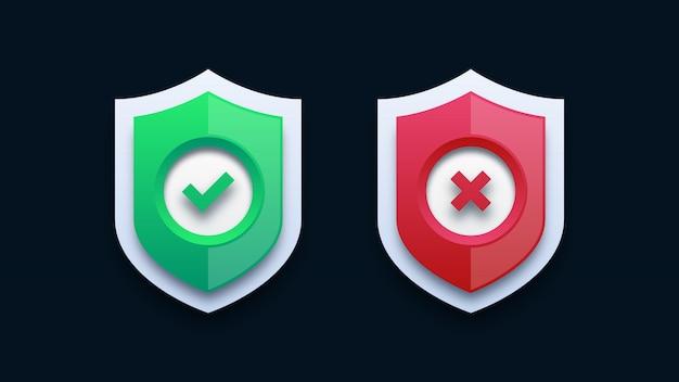 Groen vinkje en rood kruis op schild Premium Vector