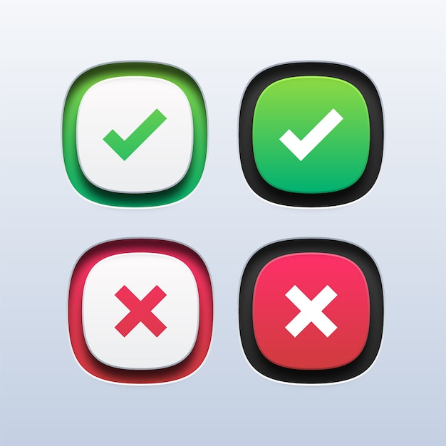 Groen vinkje en rood kruis pictogram Premium Vector