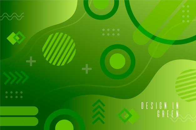 Groen vloeibaar effect op geometrische achtergrond Gratis Vector