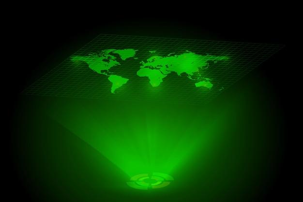 Groen wereldkaart globaal hologram Premium Vector