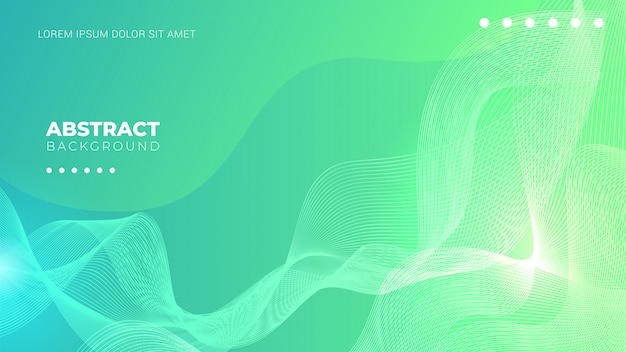 Groene achtergrond met kleurovergang met abstracte lijnen Premium Vector