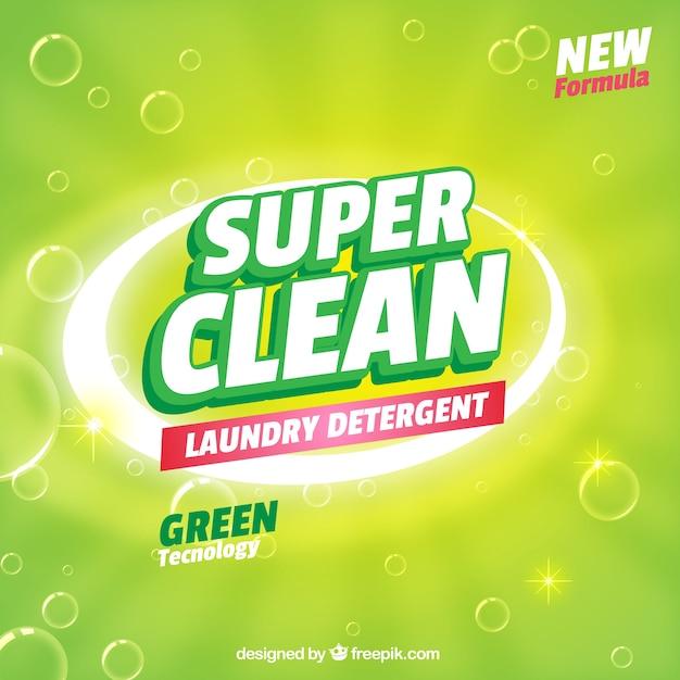 Groene achtergrond van detergent met nieuwe formule Gratis Vector