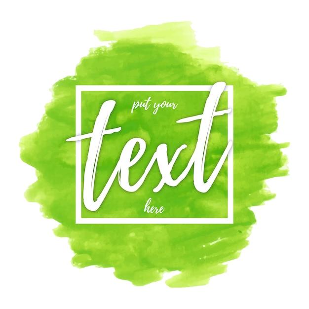 Groene aquarel met tekstsjabloon Gratis Vector
