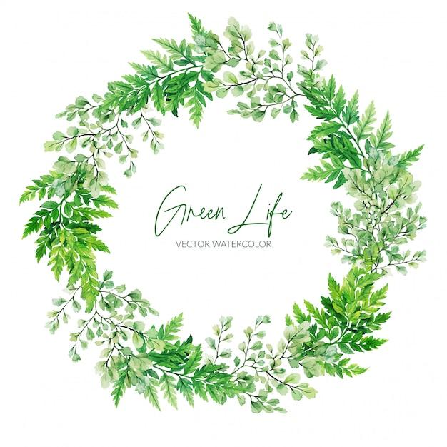 Groene aquarel varens krans, met de hand getekende illustratie Premium Vector
