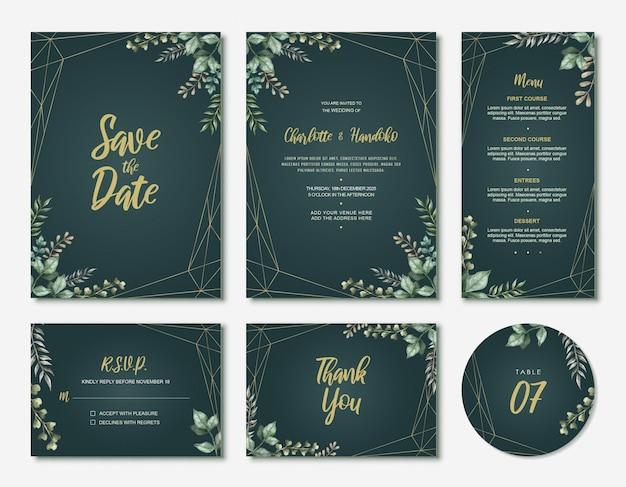 Groene aquarel verlaat bruiloft uitnodigingskaartenset Premium Vector