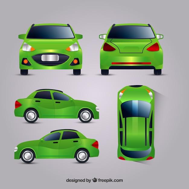 Groene auto in verschillende uitzichten Gratis Vector