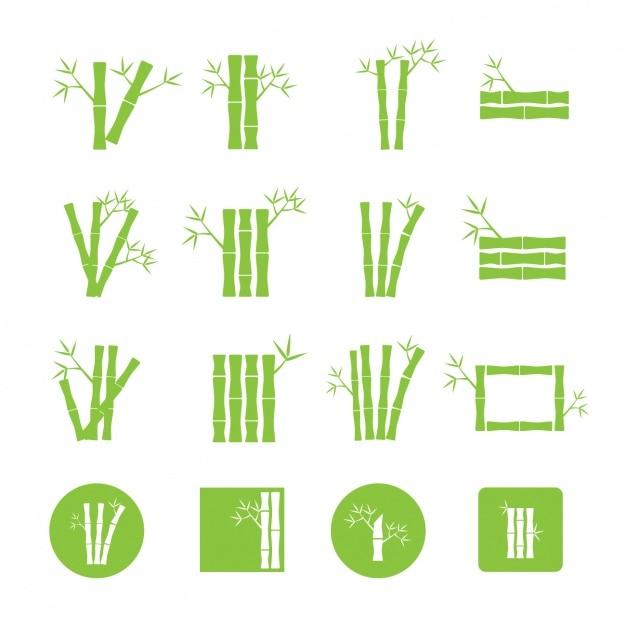Groene bamboe iconen collectie Gratis Vector