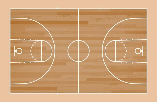 Groene basketbalveld vloer met lijn patroon achtergrond Premium Vector
