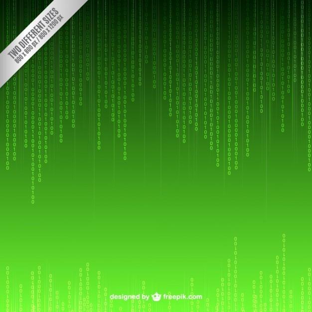 Groene binaire code achtergrond Gratis Vector