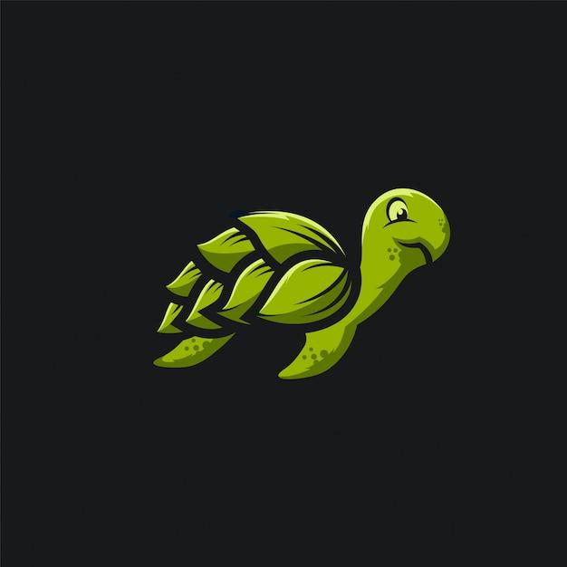 Groene blad schildpad logo ilustration Premium Vector