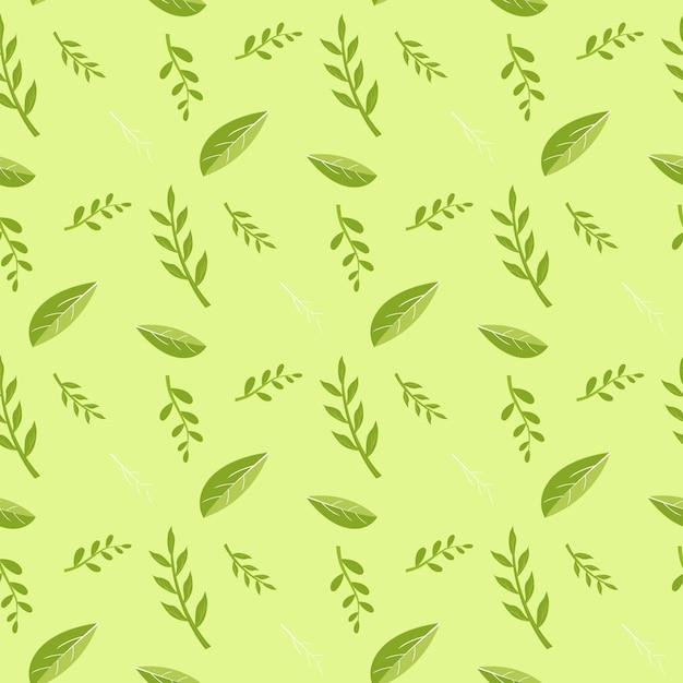 Groene bladeren en planten stelen patroon Gratis Vector