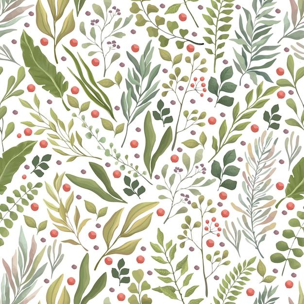 Groene bladeren, takken en rode bessen naadloze patroon. zomer of herfst gebladerte platte achtergrond. Premium Vector
