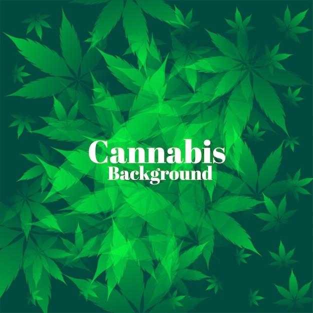 Groene cannabisbladeren op bosachtergrond Gratis Vector