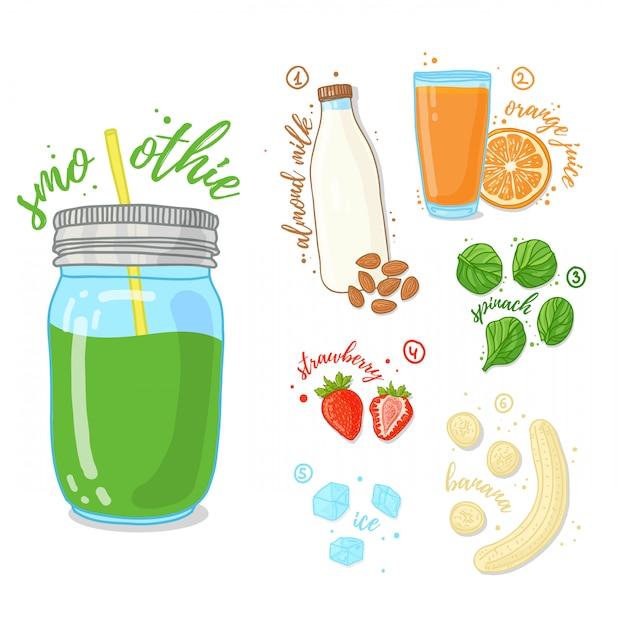 Groene cocktail van groenten en fruit. smoothies met spinazie, amandelmelk en een banaan. recept vegetarische smoothies in een glazen pot. . Premium Vector