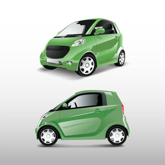 Groene compacte hybride auto vector Gratis Vector