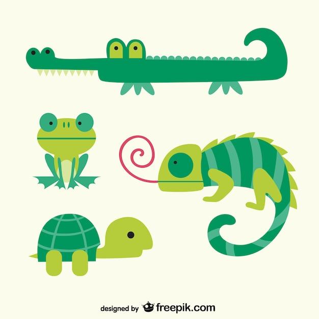 Groene dieren cartoons Gratis Vector