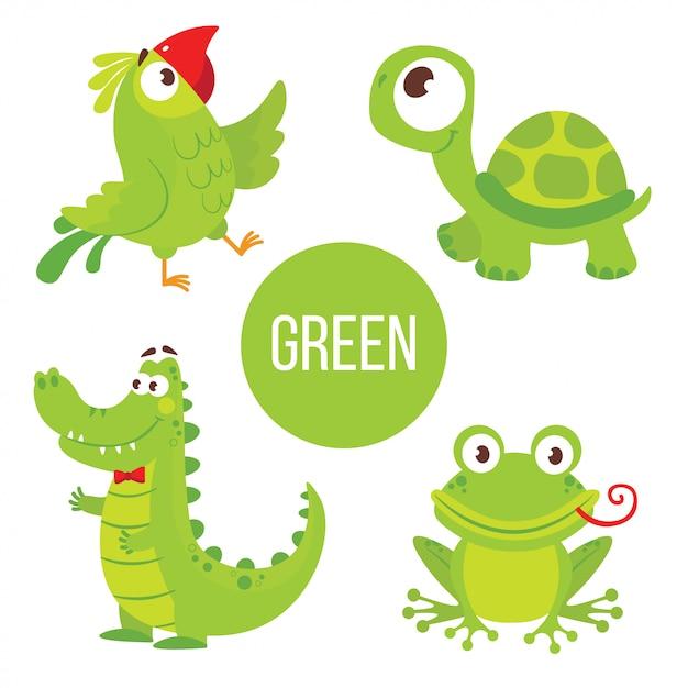 Groene dieren: schildpad, alligator, kikker, papegaai. Premium Vector