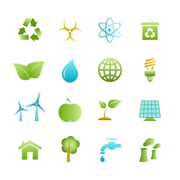 Groene eco pictogrammen instellen Gratis Vector