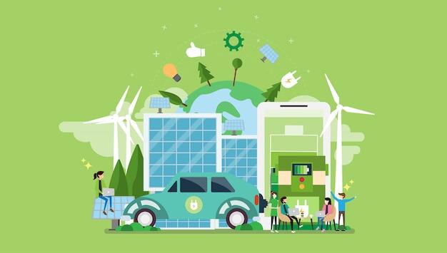 Groene eco-vriendelijke levensstijl tiny people character Premium Vector