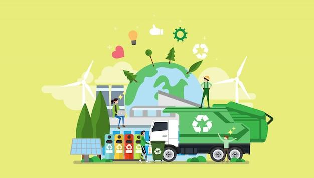 Groene eco vriendelijke stad kleine mensen karakter Premium Vector