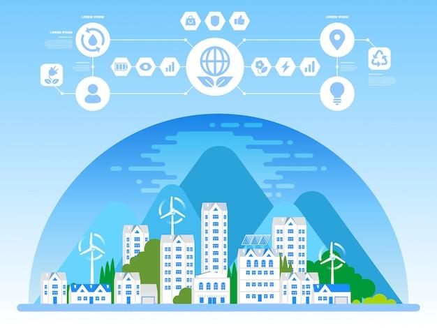 Groene ecostad en duurzame architectuurbanner Premium Vector