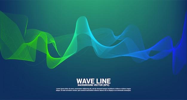 Groene en blauwe geluidsgolf lijn curve op donkere achtergrond. element voor de futuristische vector van de thematechnologie Premium Vector