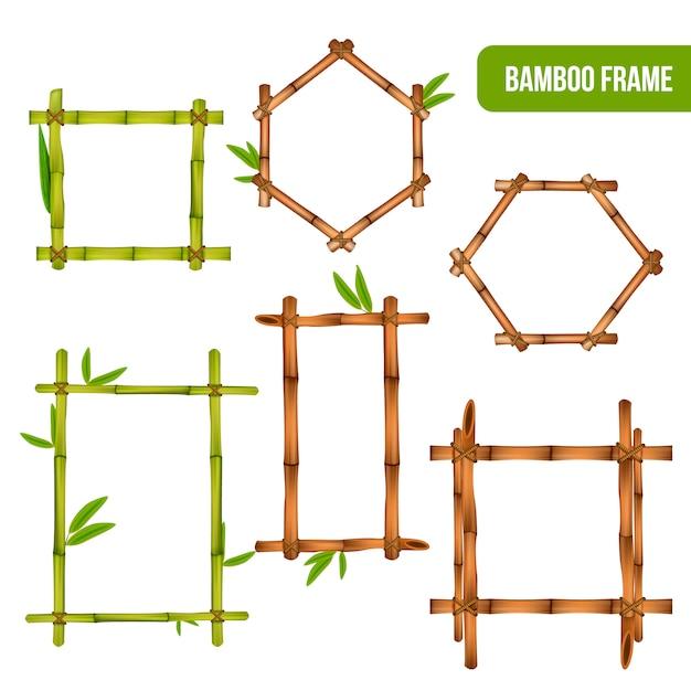 Groene en droge bamboe decoratieve interieurelementen vierkante rechthoek en zeshoekige frames Gratis Vector