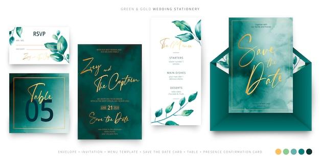 Groene en gouden bruiloft briefpapier sjabloon Gratis Vector