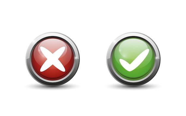 Groene en rode knop op witte achtergrond. Premium Vector