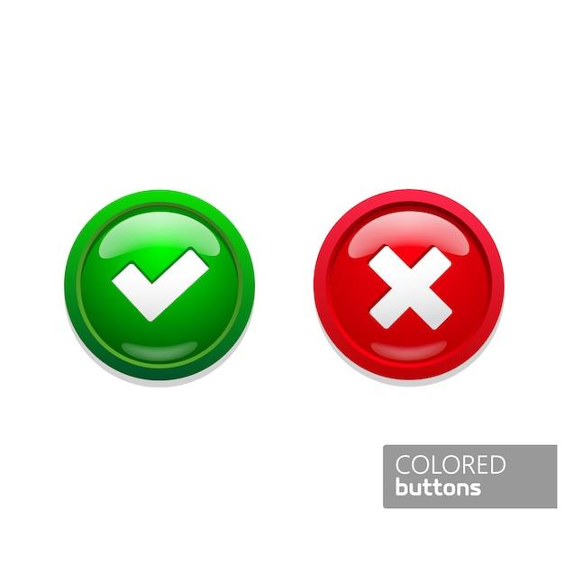 Groene en rode ronde knoppen pictogrammen in kleur bevestigen en weigeren. glasknopen op zwarte achtergrond Premium Vector
