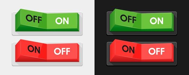 Groene en rode stroomschakelaars Premium Vector