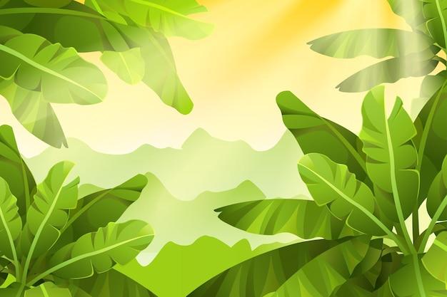 Groene en zonnige jungle achtergrond Gratis Vector