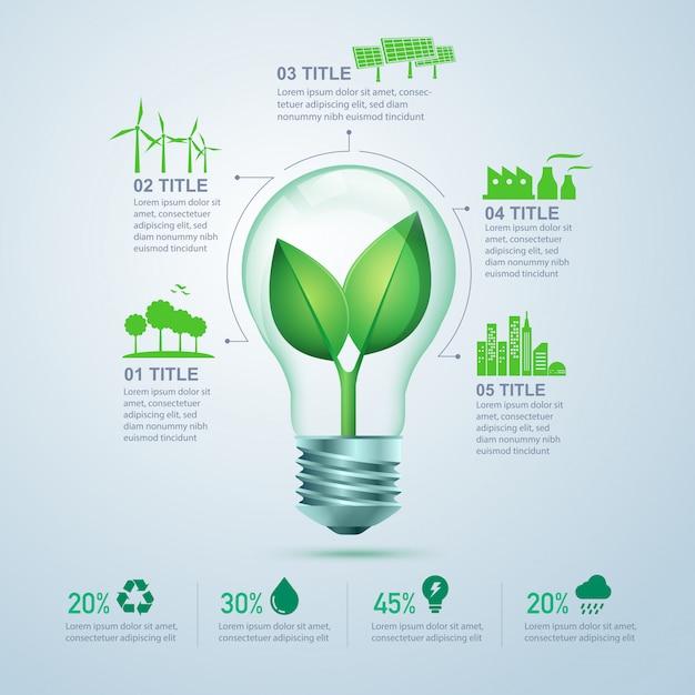 Groene energie infographic Premium Vector