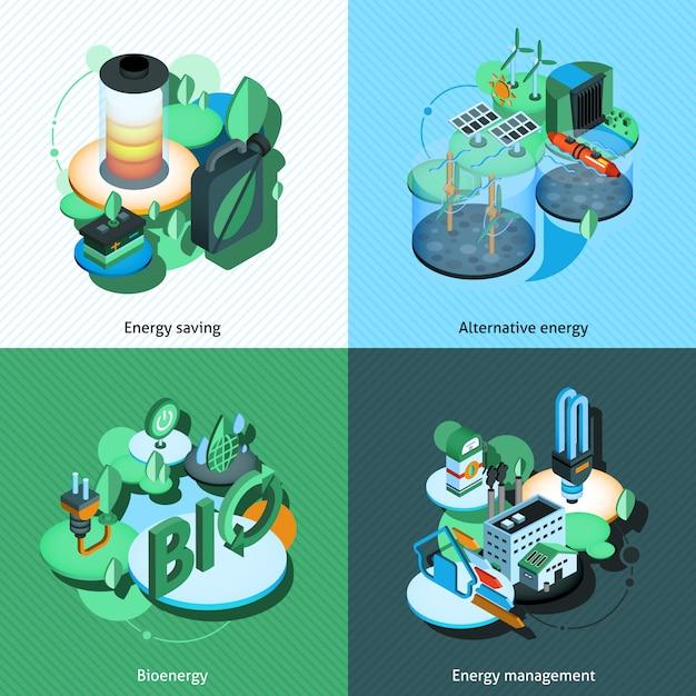 Groene energie isometrisch Gratis Vector
