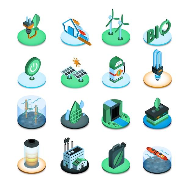 Groene energie isometrische pictogrammen Gratis Vector