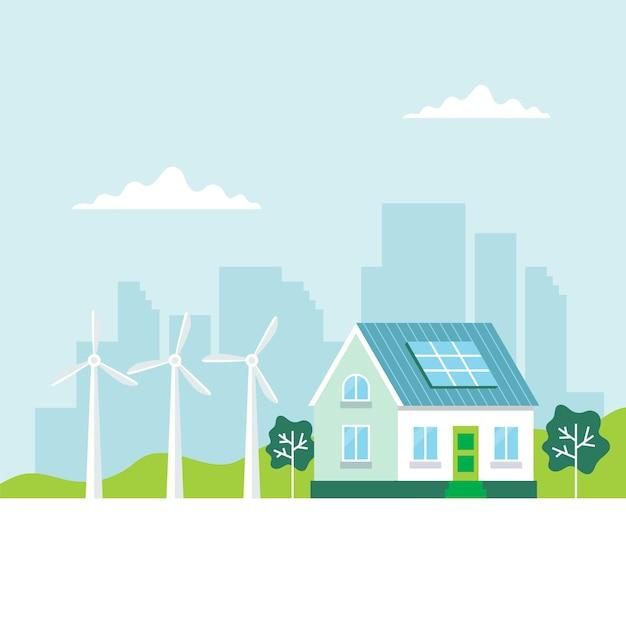 Groene energie met een huis Premium Vector