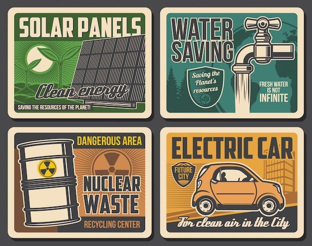 Groene energie, waterbesparing, posters voor elektrische auto's Premium Vector