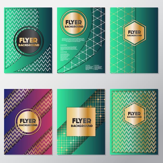 Groene flyers design collectie Premium Vector