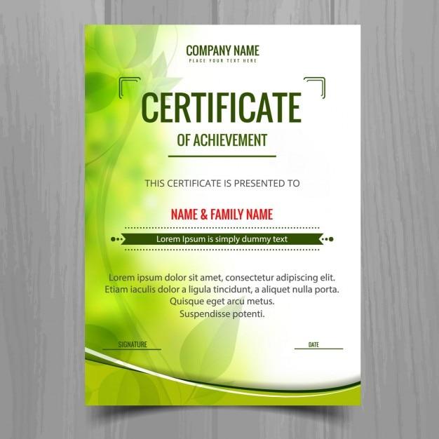 Groene glanzende certificaatsjabloon Gratis Vector
