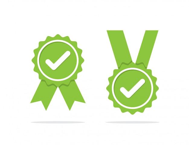 Groene goedgekeurde medaille of gecertificeerde medaille pictogram met schaduw. vector illustratie Premium Vector