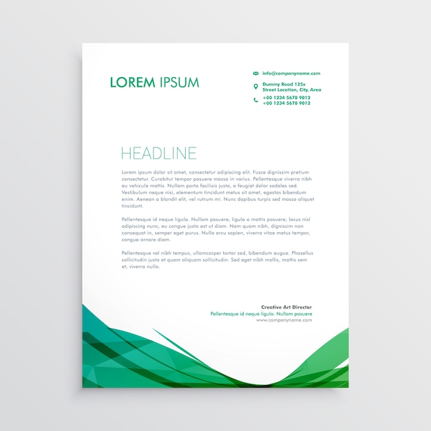 Groene golvende vorm briefhoofd vector ontwerp sjabloon Gratis Vector