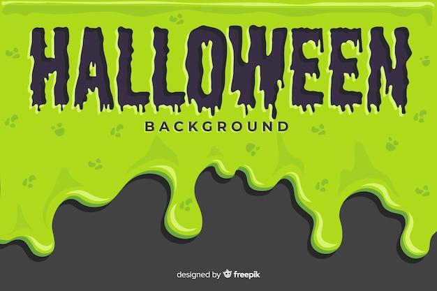 Groene halloween-achtergrond met vlak ontwerp Gratis Vector