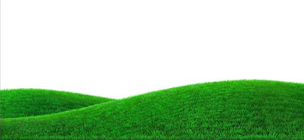 Groene heuvels achtergrond realistisch veldlandschap Premium Vector