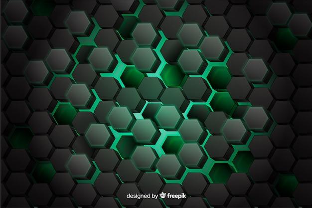 Groene honingraat van digitale kringsachtergrond Gratis Vector