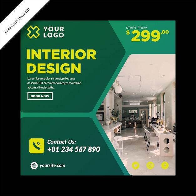 Groene interieurbanner voor social media post Premium Vector