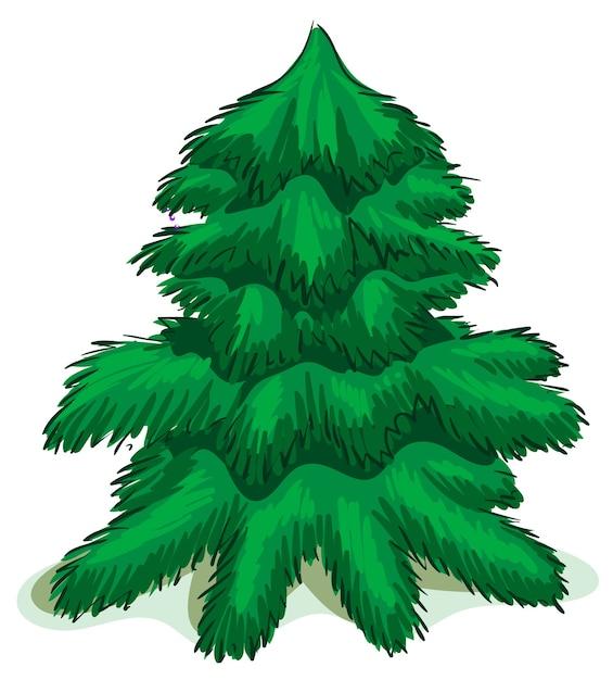 Groene kerstmisspar. geïsoleerd op wit Premium Vector