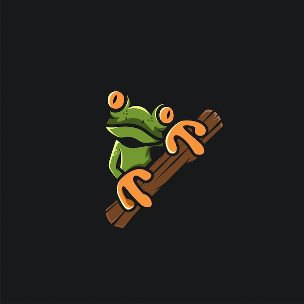 Groene kikker logo ontwerp ilustration Premium Vector