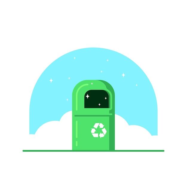 Groene kleur vuilnisbak met recycle teken geïsoleerd op witte achtergrond, Premium Vector